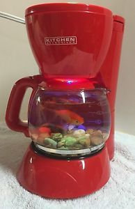 Aquarium Custom Made Upcycled Red Coffee Maker Fish Tank with 4 Color LED Light | eBay