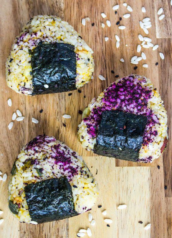 Japanese Onigiri (Rice Balls) with Kabocha Squash and Japanese Yam (Vegan)