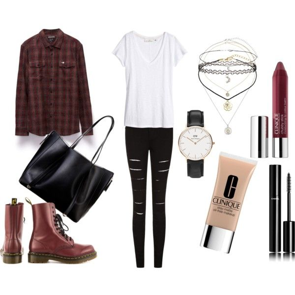 fall outfit lara66-1 on Polyvore featuring H&M, RVCA, Dr. Martens, Atmos&Here, Daniel Wellington, Miss Selfridge, Chanel and Clinique