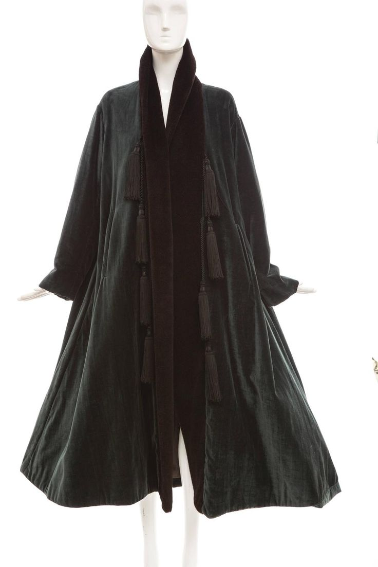 Romeo Gigli Velveteen Swing Coat With Embellished Tassels, Circa 1980's | From a collection of rare vintage coats and outerwear at https://www.1stdibs.com/fashion/clothing/coats-outerwear/