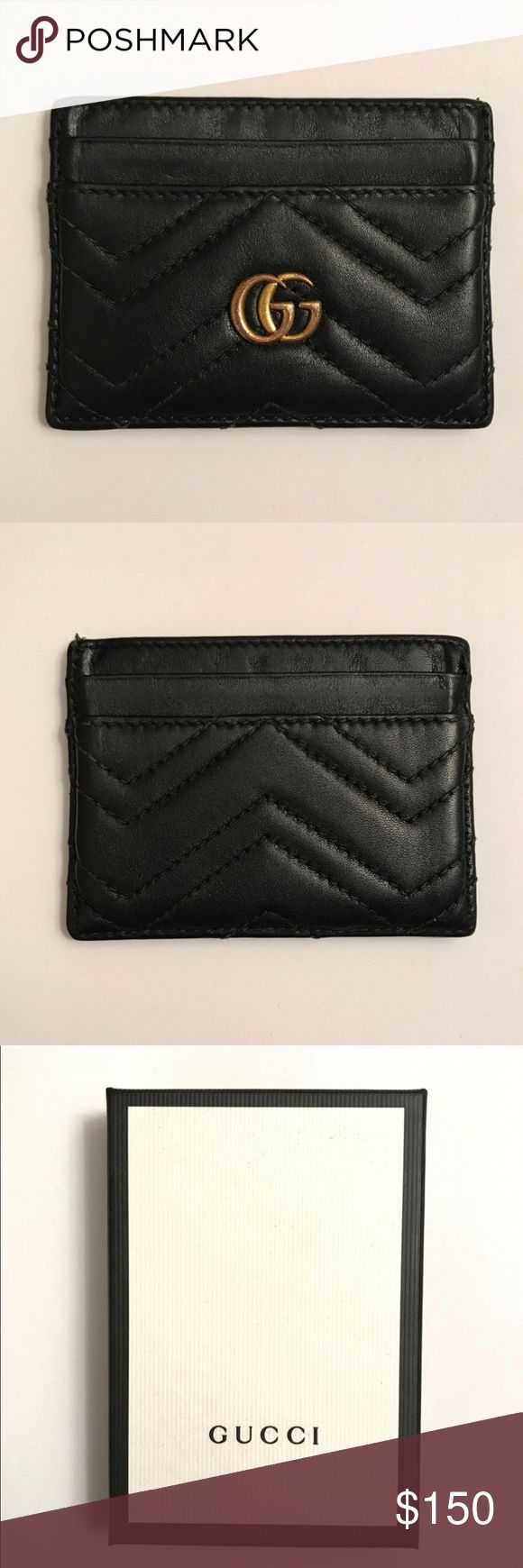 Gucci Card Holder Reposting  Gucci black leather card holder  Signs of use in logo Overall good condition Gucci Accessories Key & Card Holders