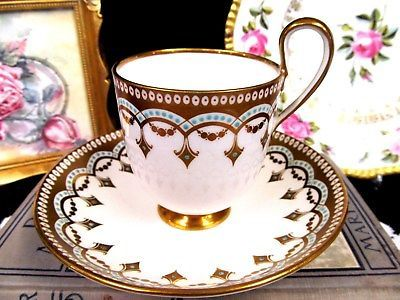 1828-30 Minton tea cup and saucer beaded & Jeweled points teacup FOOTED fancy