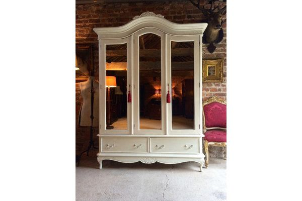 Cream Laura Ashley Antique Style Mirrored Wardrobe Three Door | Vinterior London  #furniture