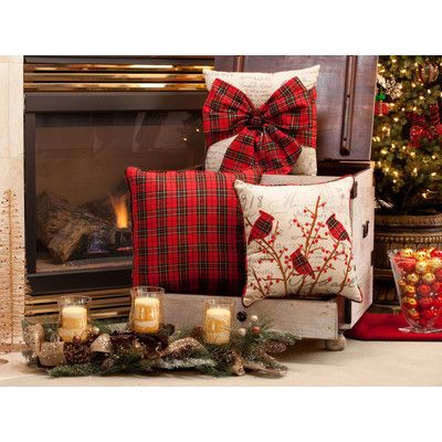 Pillow Perfect Holiday Plaid Polyester Throw Pillow