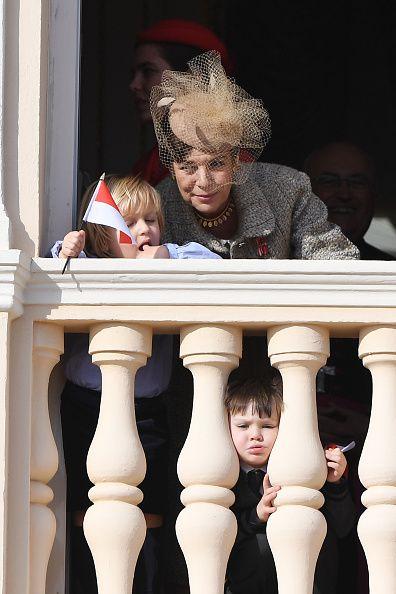 (L-R) Princess Caroline of Hanover,Sacha Casiraghi and Princess Charlene of Monaco attend the Monaco National Day Celebrations in the Mona...