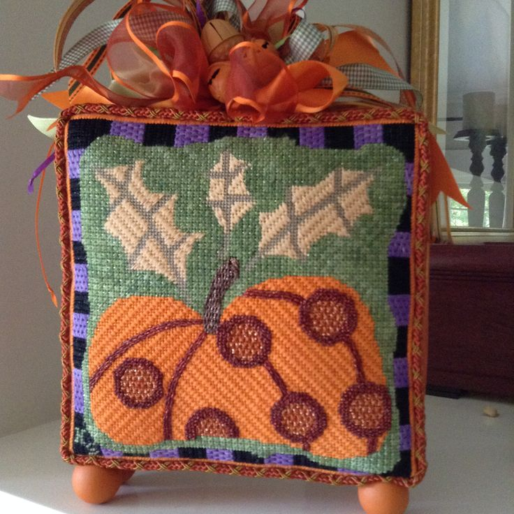 Ewe & Eye pumpkin needlepoint