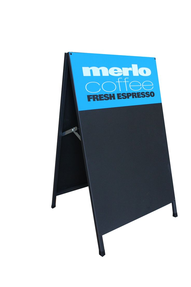 Get a classic blackboard A-Frame from Star Outdoor. They'll print a sticker with your logo to go along the top to provide your branding. Talk to them today to organise your branded A-Frame on 1300 721 877.