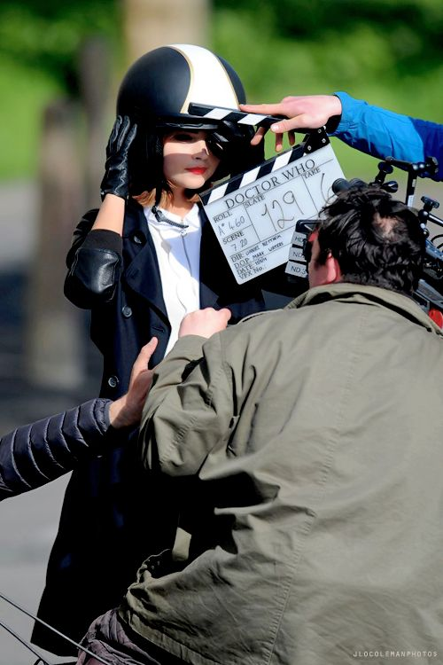 Jenna Coleman filming in Cardiff, Wales