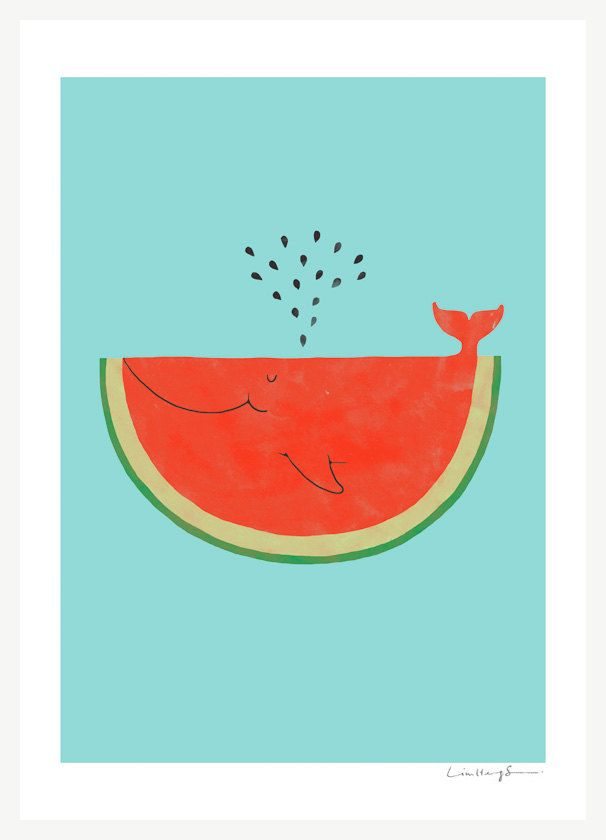My cat can eat a whole watermelon - Art Print. $30.00, via Etsy.