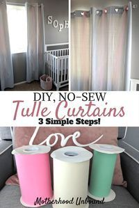 No-Sew DIY Tulle Curtains! These tulle curtain accents are super easy to DIY. They are perfect for a kids room or baby nursery dcor and are super cute and fun. No-Sew, DIY Tulle Curtains that take little time and effort to make and are a low cost decora