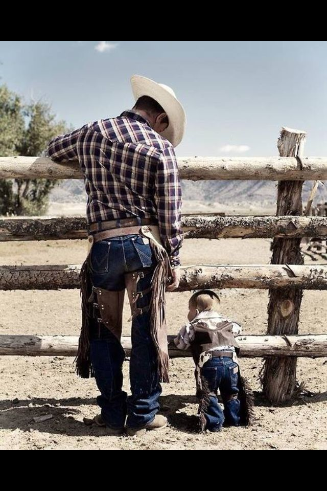 Wow, Dad. That looks like fun. I'd like to do that when I get big. - Okay, son. I'll teach you how to be a real-life cowboy. - Thanks, Dad.