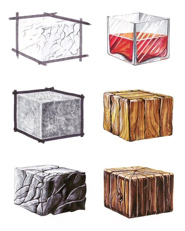 Работа @olga_hollandia_sketches по текстурам из основного курса Интерьерного скетчинга