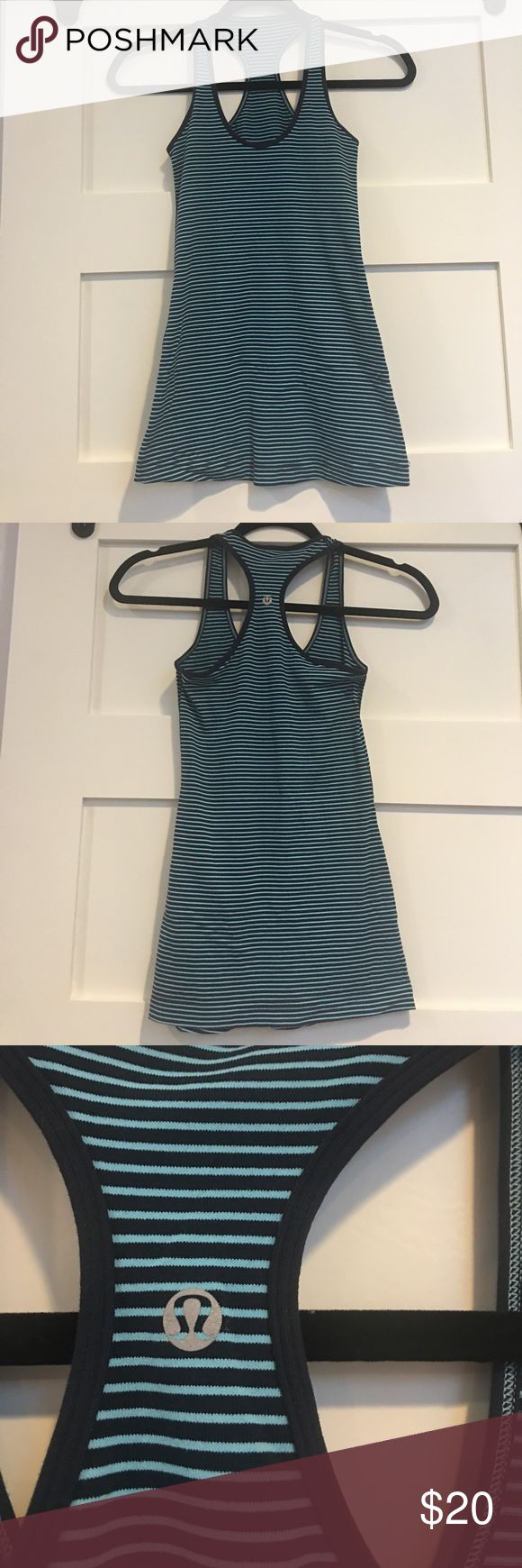 Lululemon Razorback Tank Size 2 Super cute Lululemon turquoise and navy razorback tank top. Size 2. lululemon athletica Tops Tank Tops