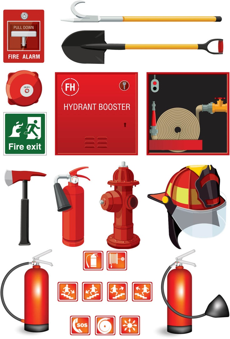 Fire safety vector Fire safety, Firefighter equipment