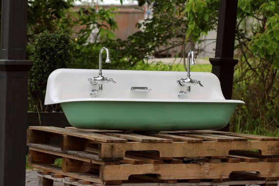 Large 48 Antique Inspired Kohler Farm Sink Arsenic Green Cast Iron Porcelain Trough Sink Package Item Measurements Width Kohler Farm Sink Farm Sink Trough Sink