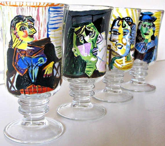 26 best mollie burd painted glasses and decor paintedburd for Hand painted drinking glasses