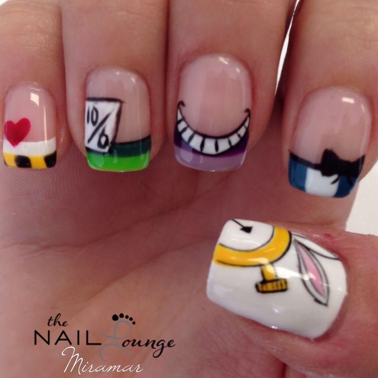 Alice in wonderland gel nail art