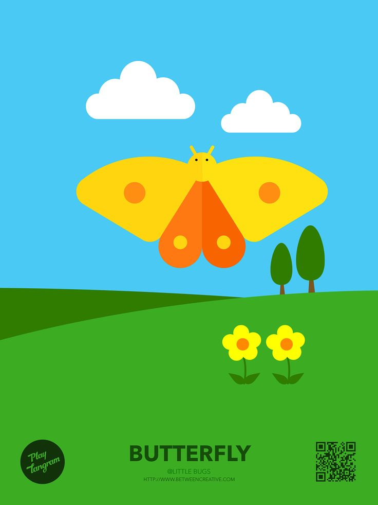 Cute Bugs Education puzzle_Butterfly #PlayTangram #Colorful #Modern #Minimal #Puzzle #Learning #Flat #ios #iphone #Nature #Children