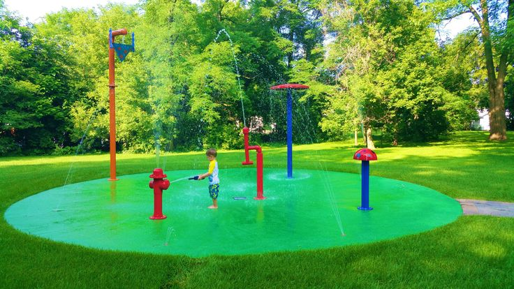 5 water play features of backyard fun!!! With 5 features, 15 ground nozzles, you are sure to get wet on this residential splash pad!