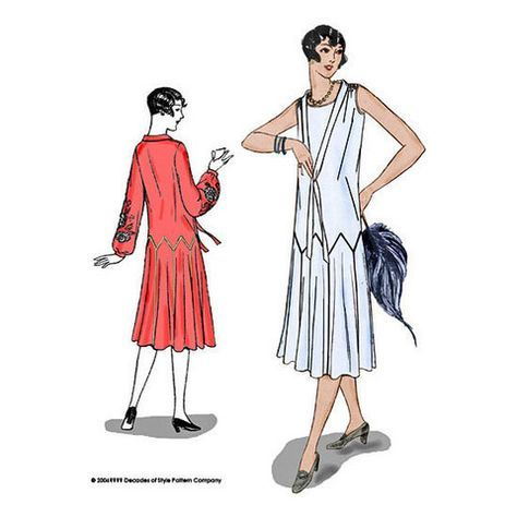 1925 Zig-Zag Dress with Art Deco Seam Lines - Decades of Style #2502 – Decades of Style Pattern Company
