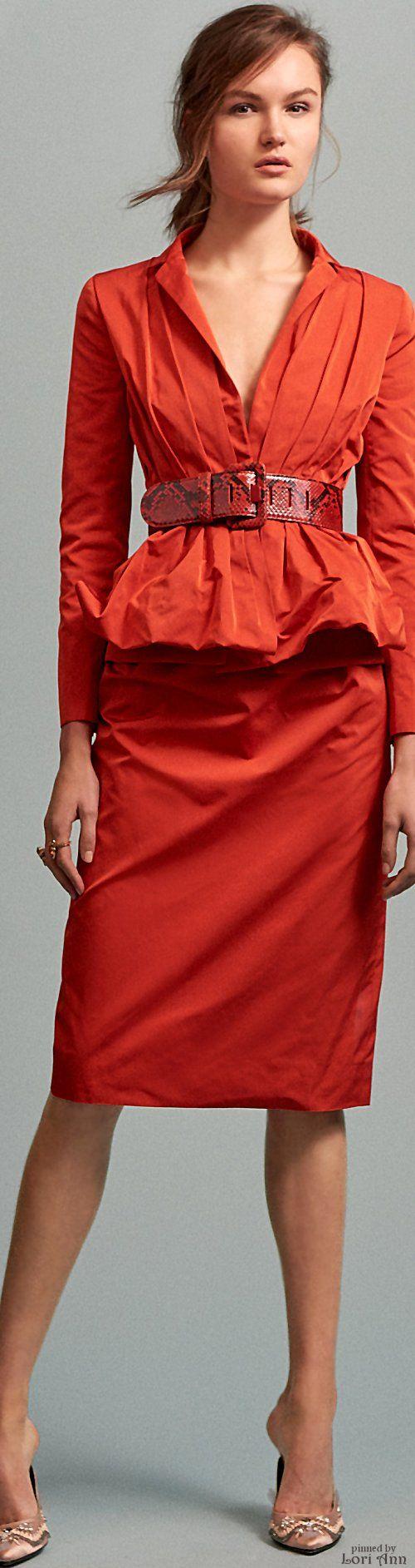 Oscar de la Renta Pre-Fall 2016 orange dress women fashion outfit clothing style apparel @roressclothes closet ideas