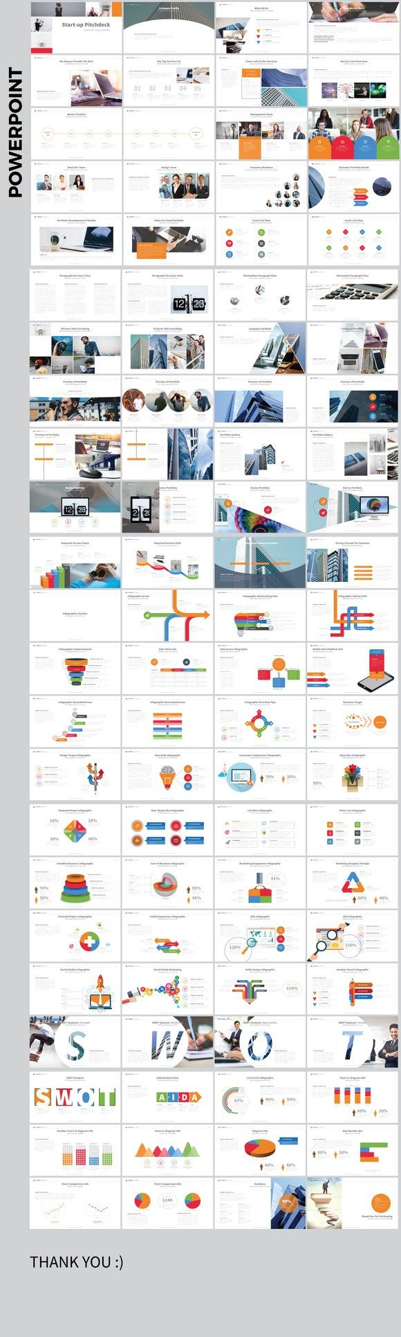 Clean PowerPoint. Infographic Templates. $10.00
