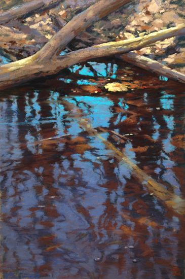 """Black Pond Reflections"" Oil & Pastel Paintings For Sale - Original Art by…"