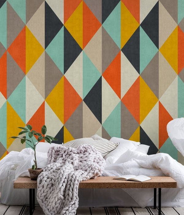 Colored Triangles I Wall Mural Wall Graphics Wall Murals Mural Wallpaper