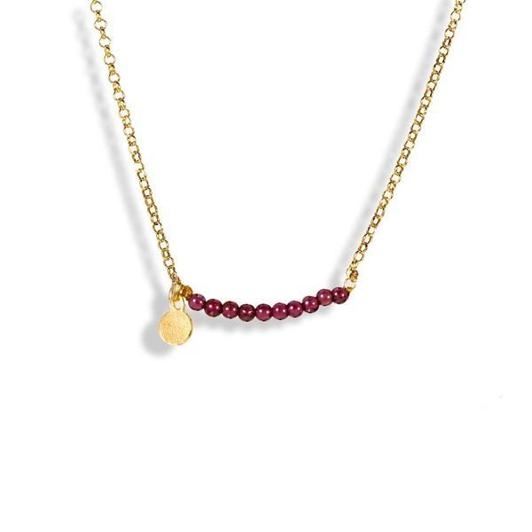 Handmade Gold Plated Silver Short Chain Necklace With Purple Crystal Beads - Anthos Crafts - 1