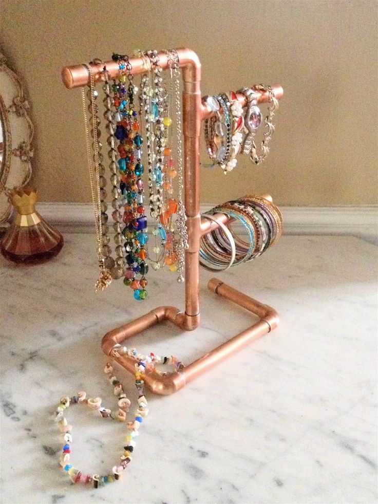 Copper Pipe Jewelry Tree Modern Jewelry Organizer Steampunk Design Jewelry Display Necklace Stand Valentines Gift for Her Jewelry Stand (69.00 USD) by MacAndLexie