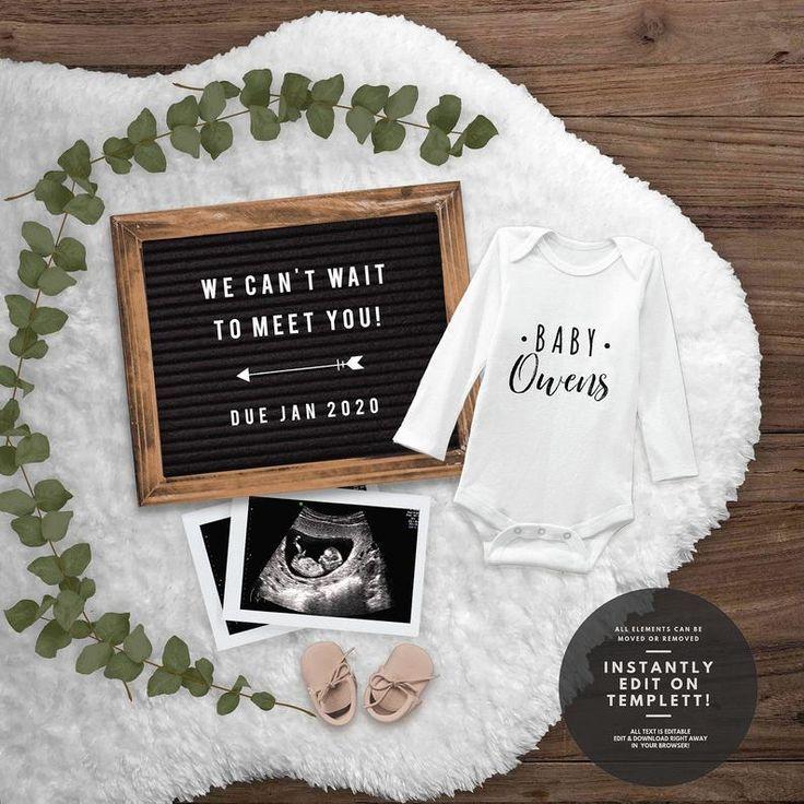 Editable pregnancy announcement for social media Baby Girl announcement