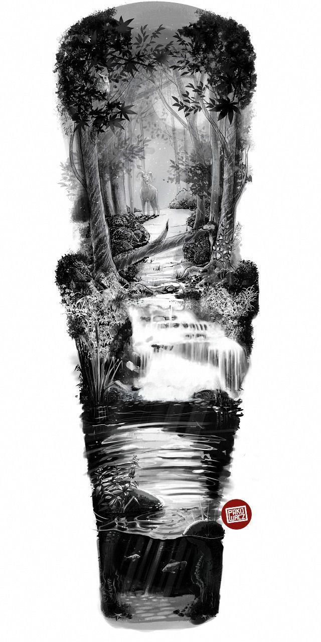 Widder im tiefen Wald (Ärmel) bei Behance Tattoos | Spanische Tätowierungen | …