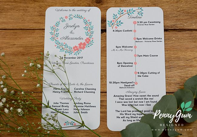 Blooming Betty - DIY wedding stationery set in a floral wreath design. Instant Download, edit your own wording and print on your home printer of at a professional printer.