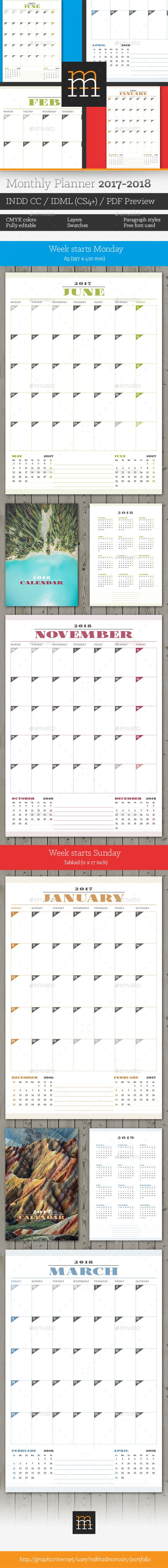 Monthly Planner 2017-2018 Template InDesign INDD
