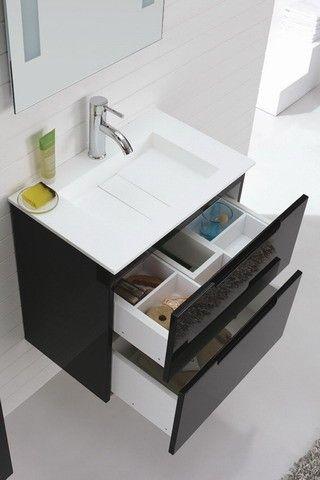 Aspen' 600 Wall Hung Single Ceramic Basin Black Bathroom Vanity with Soft…