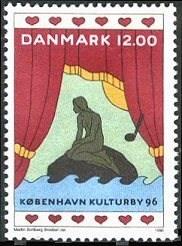 Copenhagen's iconic statue, The Little Mermaid (Den Lille Havfrue), in Copenhagen Harbor.