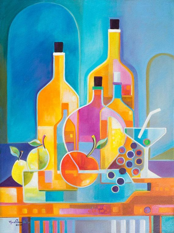Cubism Abstract Original Oil Painting Marlina Vera Fine Art Gallery Artwork Wine Martini Picasso Style Cubist Modernism Cubist Paintings Cubist Art Cubism Art