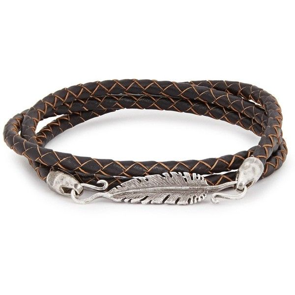 Simon Carter Dark Brown Braided Leather Wrap Bracelet ($225) ❤ liked on Polyvore featuring men's fashion, men's jewelry, men's bracelets, mens leather bracelets, mens woven bracelets, mens leather braided bracelets and mens woven leather bracelets