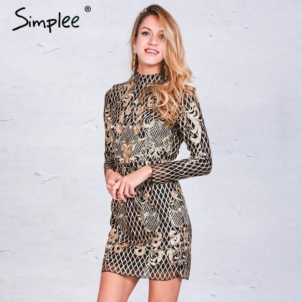 Sexy backless elegant gold sequin dress