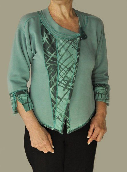 Wedge Jacket style using lower ribbing for neckline finish in Londa's Sweatshirt Transformations pattern called Living Well™ http://www.londas-sewing.com/shop/product/living-well-pdf-delivery/