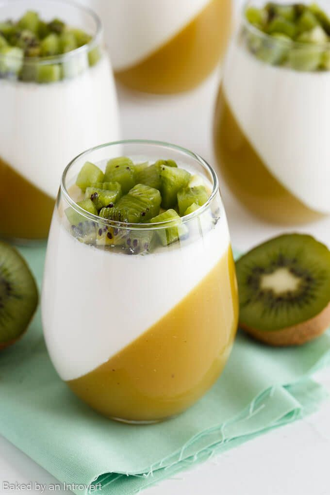 This Kiwi Passion Fruit Panna Cotta is a simple yet fancy dessert. Top the dessert with fresh kiwi and enjoy this creamy treat.