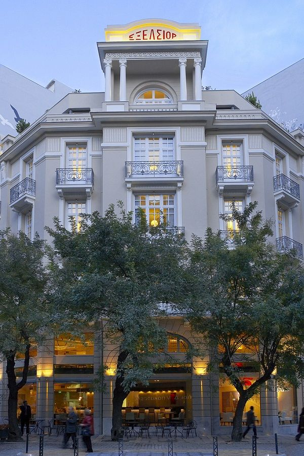 "The ""Excelsior Hotel"" in Thessaloniki was erected in 1924 in the style of neoclassicism and art-deco."