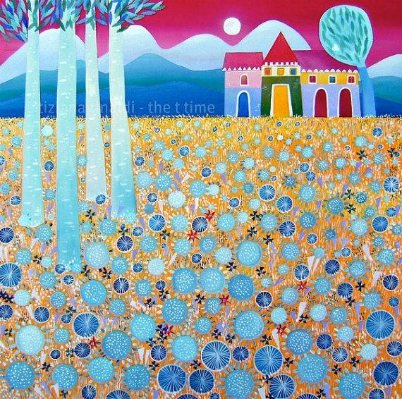 Yellow field, blue flowers - Fine art print Tiziana Rinaldi