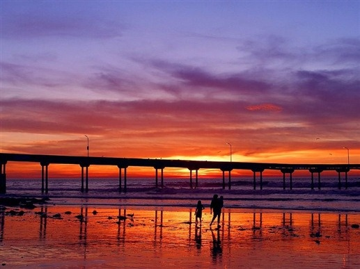View of sunset and Ocean Beach Pier in San Diego, California