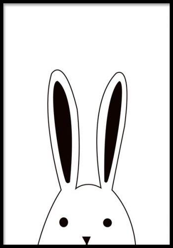 plakat med svart og hvit kanin ser opp, malerier til barneværelset