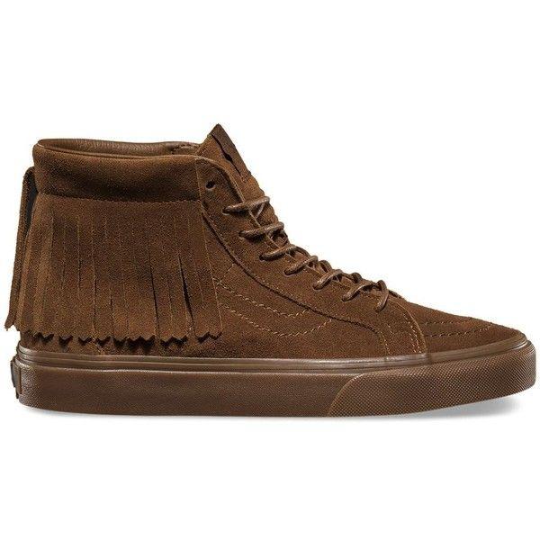 Vans Suede SK8-Hi Moc ($80) ❤ liked on Polyvore featuring shoes, sneakers, brown, vans footwear, suede sneakers, vans trainers, brown suede shoes and brown sneakers