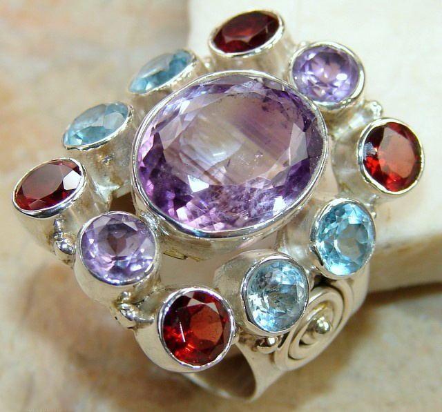   Pink Amethyst Ring : Designer Pink Amethyst Silver Ring 925  