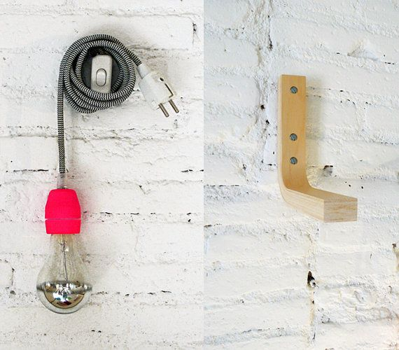 Textile cable lamp with switch plug and the wood por lacasadecoto, €47.00