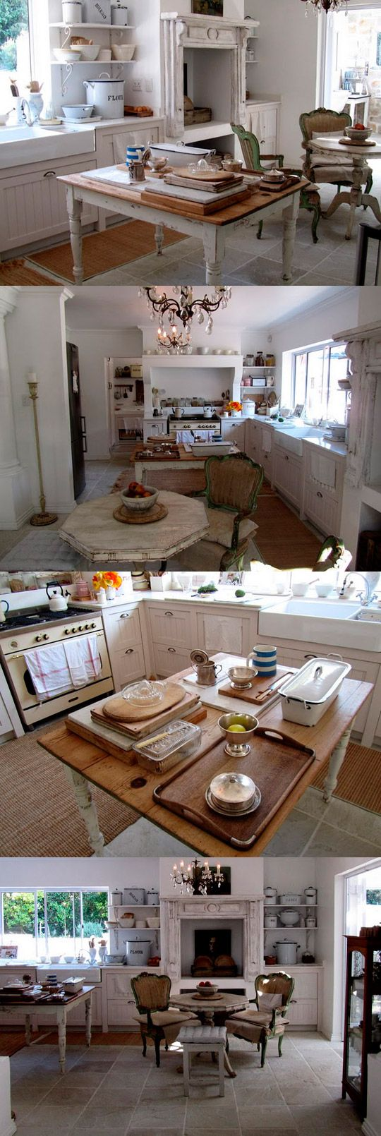Old fashioned white farmhouse style kitchen with the most amazing chandelier.  Gorgeous.
