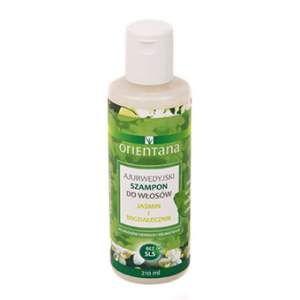 Orientana Jaśmin i Migdałecznik - Ajurwedyjski szampon. Naturalny szampon do włosów na bazie roślin indyjskich stworzony według formuły ajurwedyjskiej. Nie zawiera SLS/ SLES, silikonów, parabenów, ani innych szkodliwych substancji chemicznych. Nie plącze włosów, nawilża je i odżywia. Do włosów cieńkich i delikatnych